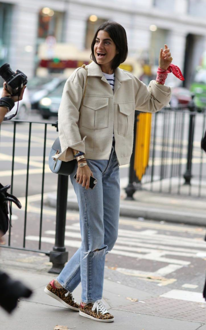 Boyfriend jeans perfectly styled by the Man Repeller blogger Leandra Medine