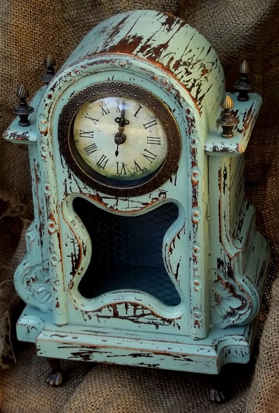 Shabby Chic Mantle Clock/Rustic Mantle Clock/ by JuneBugCottage, $38.00