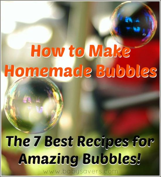 7 different recipes for homemade bubbles. Easiest one is a simple ratio of soap to water. More ingredients = better bubbles
