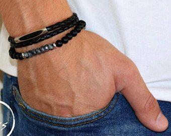Mannen Armband Set - mannen kralen armband - armband voor mannen van leer - mannen sieraden - mannen cadeau - vriendje Gift - man Gift - man