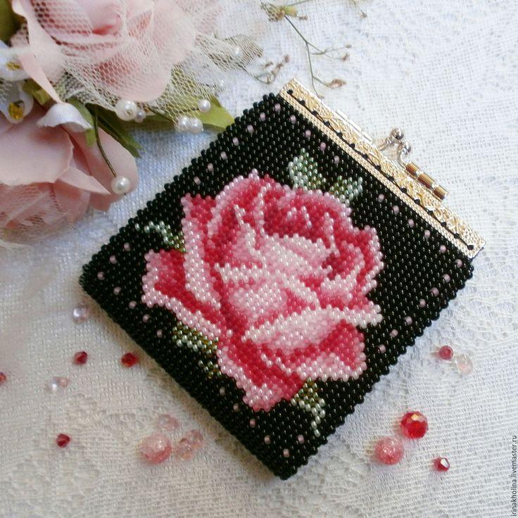 Купить Кошелек для мелочи ( монетница ) из бисера Роза - монетница, кошелек, кошелек с фермуаром