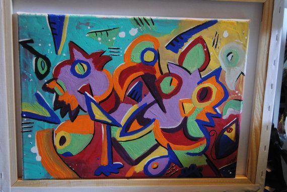 Canvas abstract painting Wacky ol friends Birds Cats by ValVArt