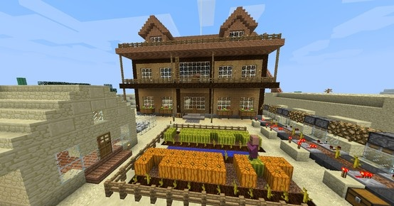 I saw a house design, and have built my own version!  Built in survival, you can see melon and pumpkin farm in front of the wood house, and the automatic melon farm on the left.. #minecraft #survival #wooden house