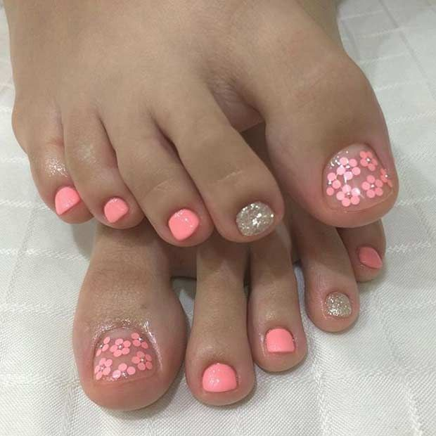 Neon Pink Flower Pedicure Design for Spring