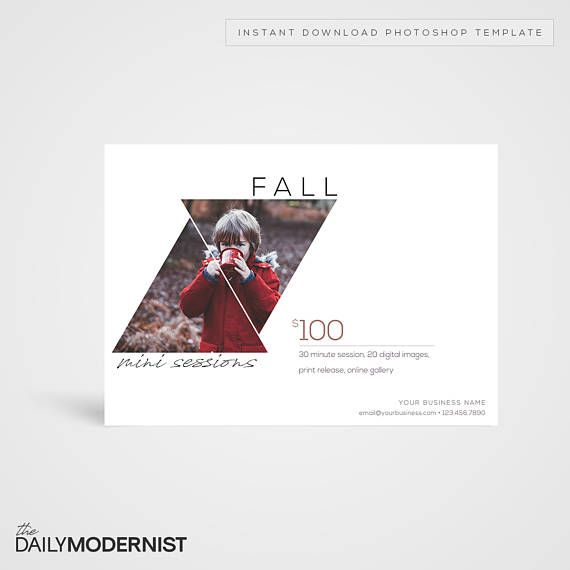 Fall Mini Sessions Template  Instant Download Photoshop