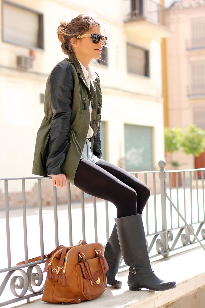 +Black tights+Black rainboots+Forever21 sells a jacket just like this one!Finally, if your top is long, go with leggings instead of tights,