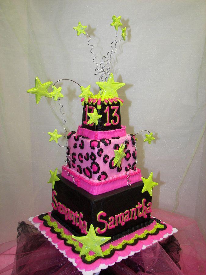 13th birthday cakes | cheetah print birthday cake chocolate cake bc icing ri stars pink lime ...