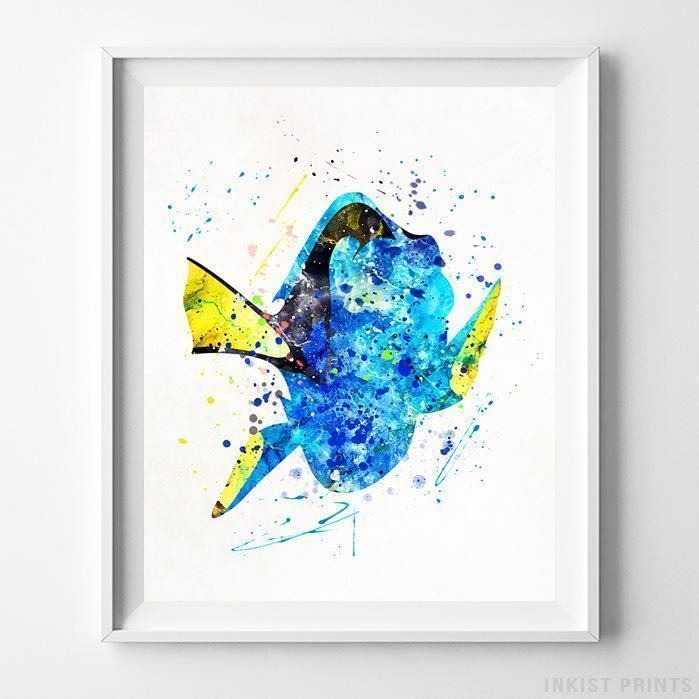 Dory, Finding Nemo Disney Watercolor Wall Art Print. Prices from $9.95. Available at InkistPrints.com - #disney #watercolor #giftidea #disneyart #wallart #FindingNemo #FindingDory