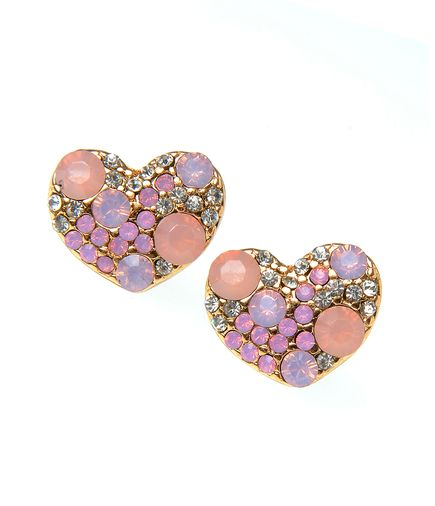 Cercei in forma de inima cu cristale roz: 29,99 lei