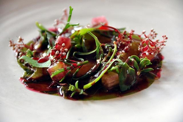 Restaurant Noma: Rå rejer med tang, rabarber og urter by cyclonebill, via Flickr
