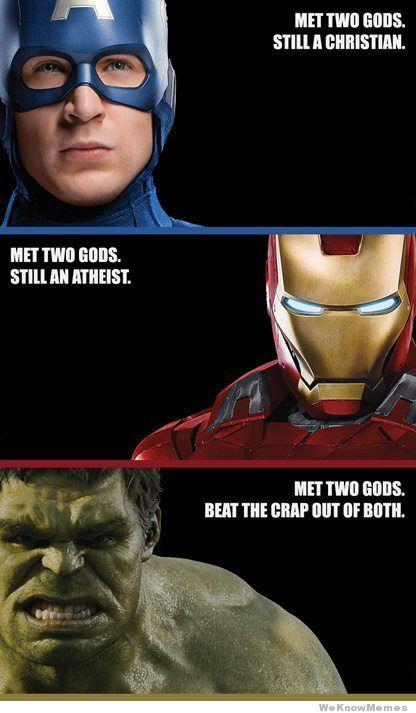 Met Two Gods: Hulksmash, Captainamerica, Funny Pictures, Captain America, Marvel Comic, Hulk Smash, Irons Men, True Stories, The Avengers