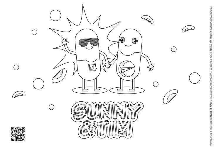 Kleurplaat - Sunny & Tim
