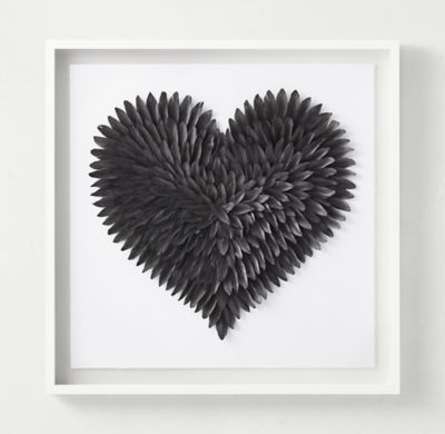 RH TEEN's Feathered Heart - Graphite:Delicate yet strong, feathers provide an ideal medium for the creation of our striking wall art, evoking the heart's complexity and the tender yet fierce nature of love.