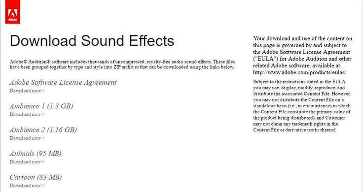 Sitios para descargar sonidos gratis - Adobe Audition