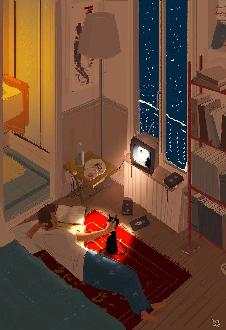 """""""Movie Night"""". I love Pascal Campeon's adorably euro and bookish art. Bonus: the apartment interior is a common thread throughout his work."""