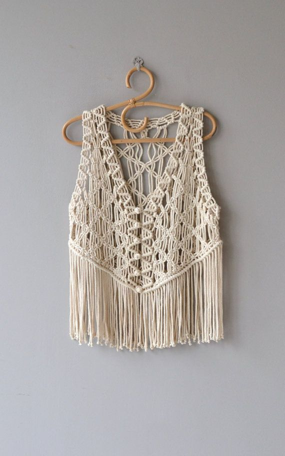 Vintage 1970s cream cotton macrame vest with round macrame buttons and long fringe. ✂-----Measurements fits like: one size bust: up to 42 length: 24