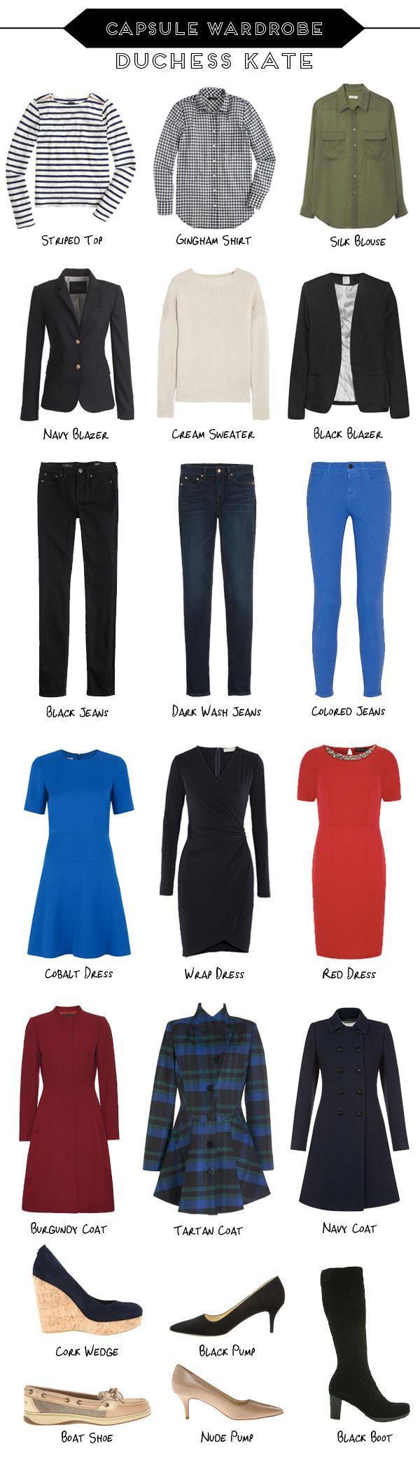 Capsule Wardrobe // Kate Middleton love the cuts of these - would do a more tonal version of above for myself