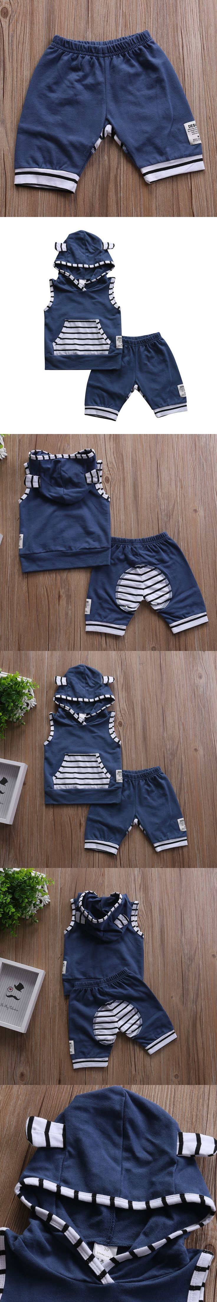 2pcs Cool Fashion Autumn Toddler Kids Baby Boys Girls Outfits Sleeveless Hooded Tops T-shirt + Striped Short Pants Clothes Set