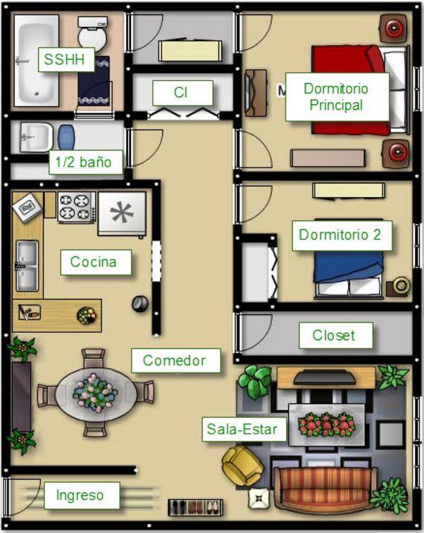 Plano de departamento de 70 metros cuadrados en un terreno for Habitacion de 8 metros cuadrados