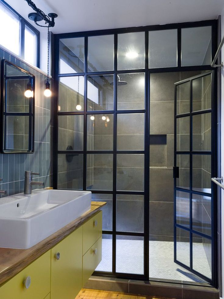 Dreamline Shower Doors for Industrial Bathroom and Gray Tile Wall