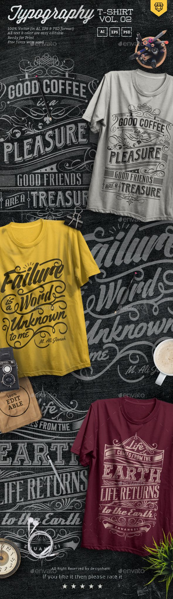 Design t shirt and get paid - 3 Quote Typography T Shirts Vol 02