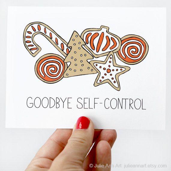 Christmas Card  Goodbye SelfControl by JulieAnnArt on Etsy, $4.00
