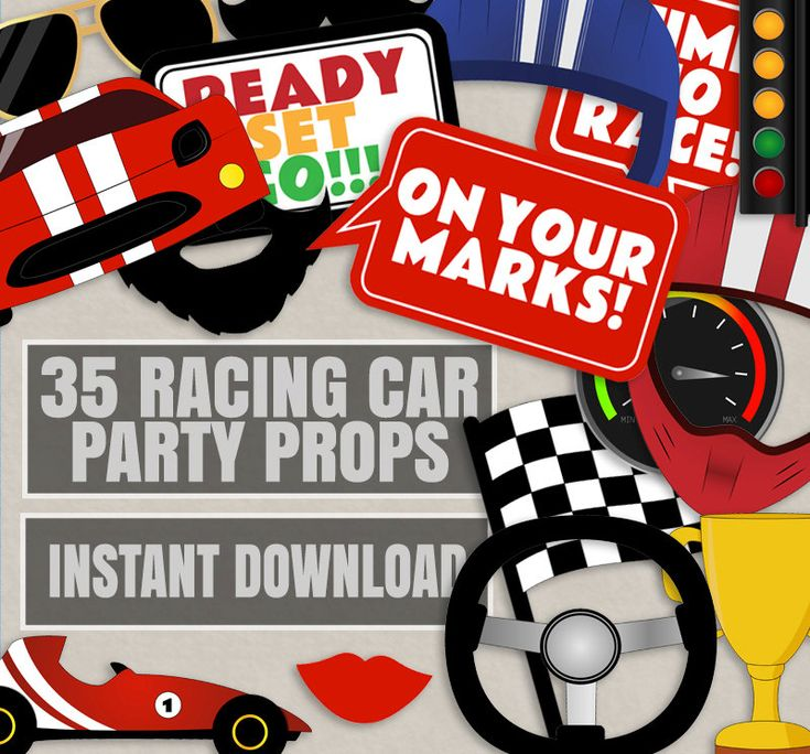 35 Race car themed party photo props, racing car party decor, racing party…