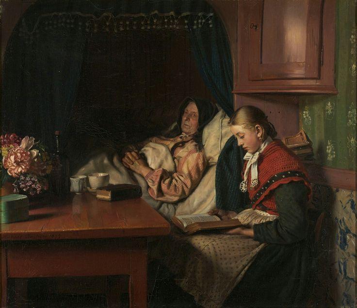 Michael Ancher 1879 Ved en sygeseng, en ung pige læser for den gamle kone i alkoven. 62x71cm