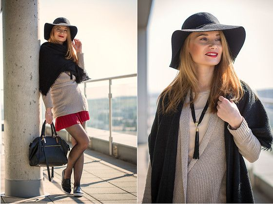 Get this look: http://lb.nu/look/7847646  More looks by Kate Z.: http://lb.nu/chiccocktail  Items in this look:  Primark Wool Floppy Hat, Primark Tote, Primark Slip On, Promod Tassle Necklace, Primark Scarf   #wool #floppy #hat #pleated #skirt #slipon #knitwear #fall #scarf