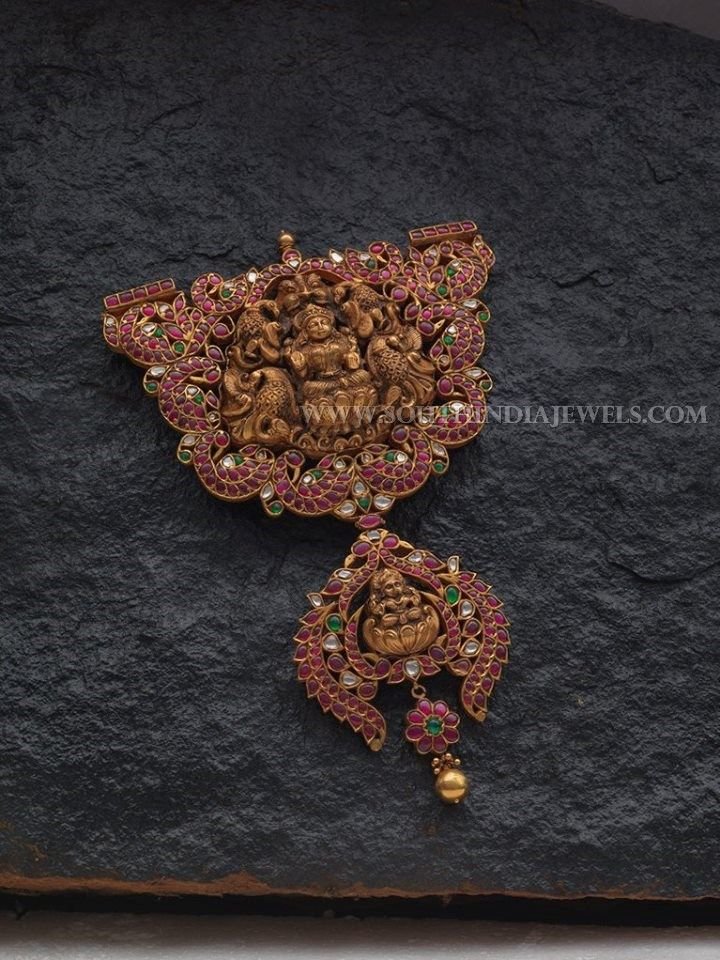 Gold Ruby Lakshmi Pendant With Price Details, Gold Antique Lakshmi Pendant With Rubies.