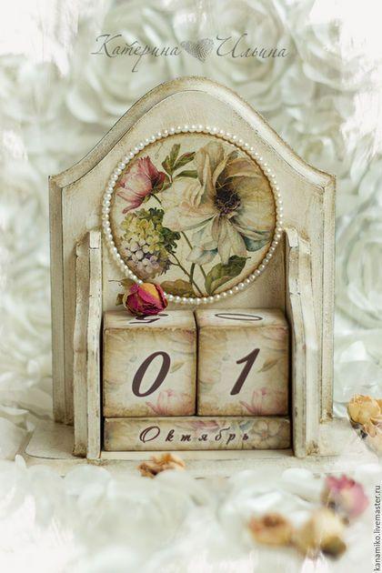 """Персональные подарки ручной работы. Ярмарка Мастеров - ручная работа. Купить Вечный календарь """"La Fleur"""". Handmade. Бежевый"""