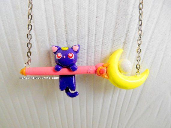 Sailor Moon Luna Moon Wand Cat Necklace by NerdyLittleSecrets