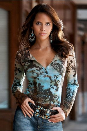 Floral henley knit top, turquoise/brown...love