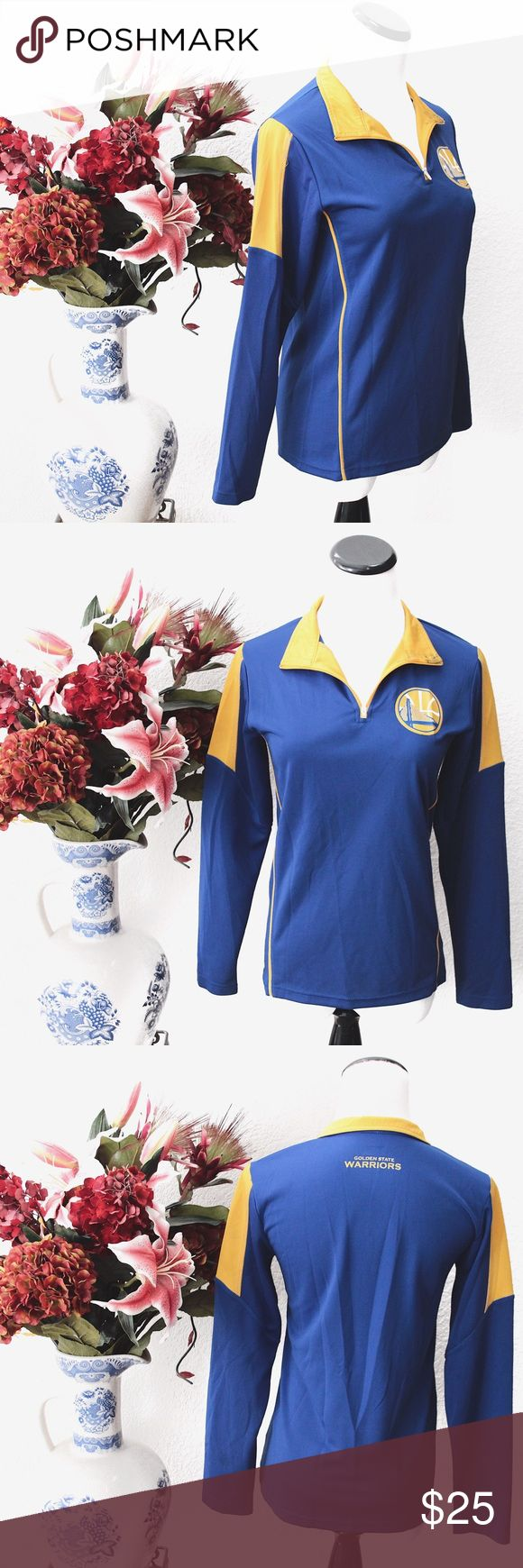 """NBA Golden State Warriors Half-Zip Long Sleeve ⌁ Measurements: 23"""" length 17"""" pit-to-pit 22"""" sleeve  ⌁ Material: 100% polyester  ⌁ Condition: Used once. Has some faint stains as shown. Some of them are hard to take a picture of. There is also some stain on the collar that I'm not sure how to remove.  ⌁ Note: Kids' M = womens' XS/S.  Comment below if you have any questions. Please make all offers using the """"offer"""" button. No trades. No holds. Comes from a smoke-free/pet-free home. Not…"""