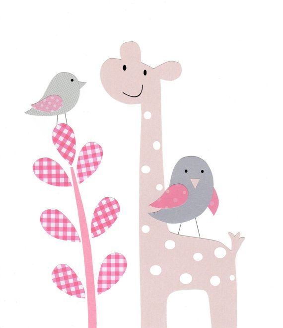 Nursery Art Baby Girl Kids Wall Art Bird Giraffe Pink by vtdesigns