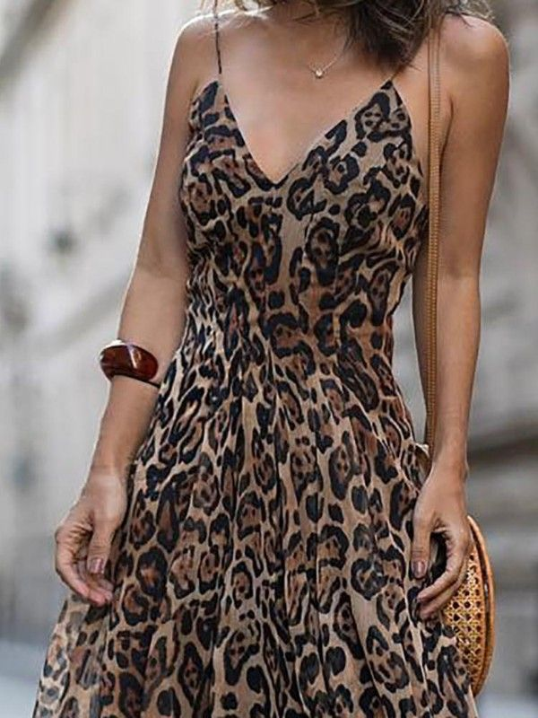 defe7cfc36ff Leopard V Neck Spaghetti Strap Maxi Dress   Bohemian   Dresses ...