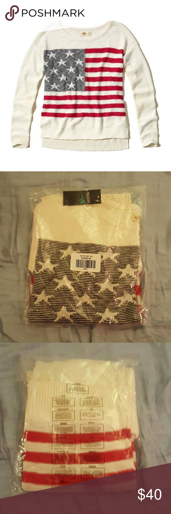 Hollister size small American flag sweater Brand new with tags, still in plastic bag (ordered from online). Size small. Hollister Sweaters Crew & Scoop Necks