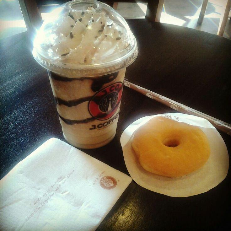 Chocolate mint with donut @ JCO Donuts