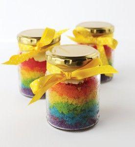 Rainbow cake in a jar? Yum! Belle's Patisserie
