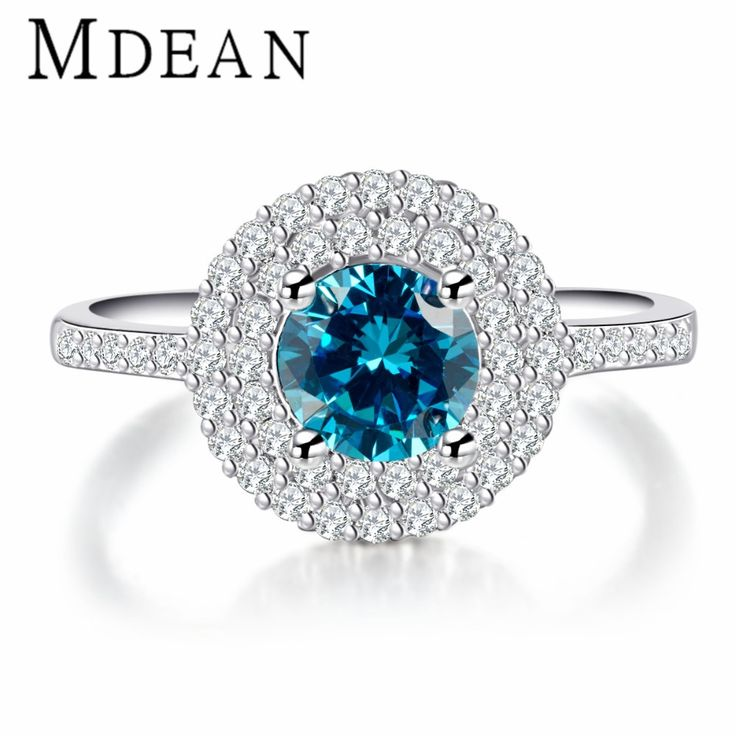 MDEAN White Gold plated Sapphire Rings for women Engagement Wedding women rings Blue CZ Diamond jewelry vintage bijoux MSR182