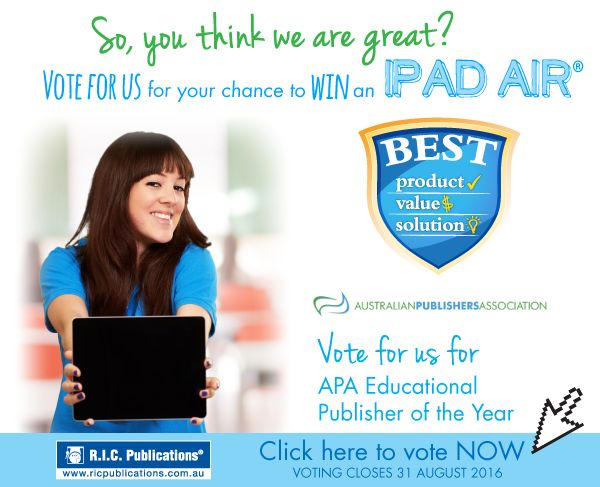 Vote for R.I.C. Publications in the Australian Publishers Awards for your chance to win an iPad Air!