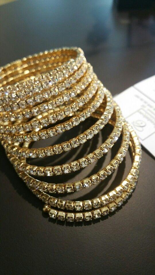 Bracciale strass spirale Gold