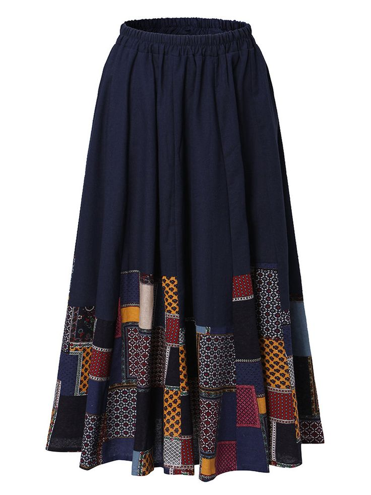 Vintage Splicing Printed Elastic Waist Skirts For Women
