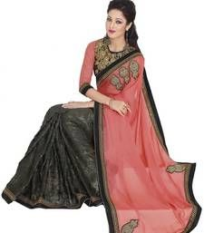 Buy Grey and Pink woven chiffon saree with blouse brasso-saree online