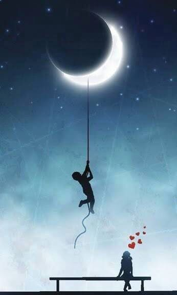 Boy Waiting Girl Wallpaper Silhouette Of A Boy Holding On To A Rope Tied To The Moon