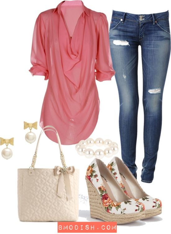 Perform Your Casual Style with Coral Pink Layered Blouse (minus the bag)