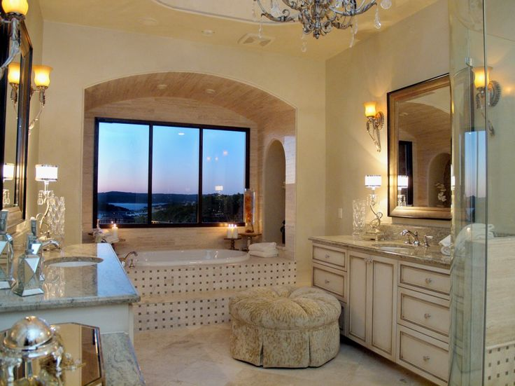Contemporary Art Sites Rough Hollow Lakeway Sunset View from Master Bath by Zbranek u Holt Custom Homes Lakeway