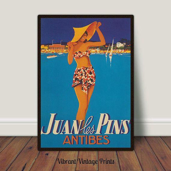 Juan Les Pins Antibes France Vintage Travel Poster