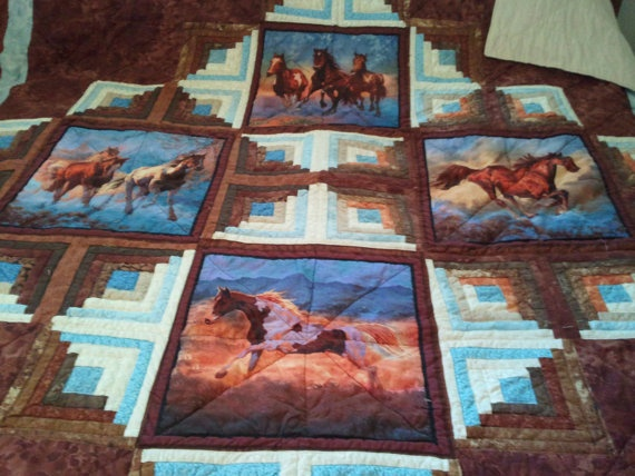 SALE Horse Quilt King sized western style by QuiltsByTaylor, $475.00