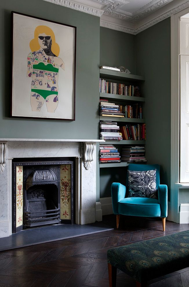 dark-teal-bedroom-Living-Room-Victorian-with-contemporary-artwork-corbels-Fireplace - Comforter and Bedding